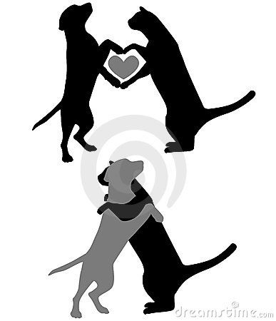 387x450 Dog And Cat Outline Various Silhouettes Of Cats And Dogs Hugging