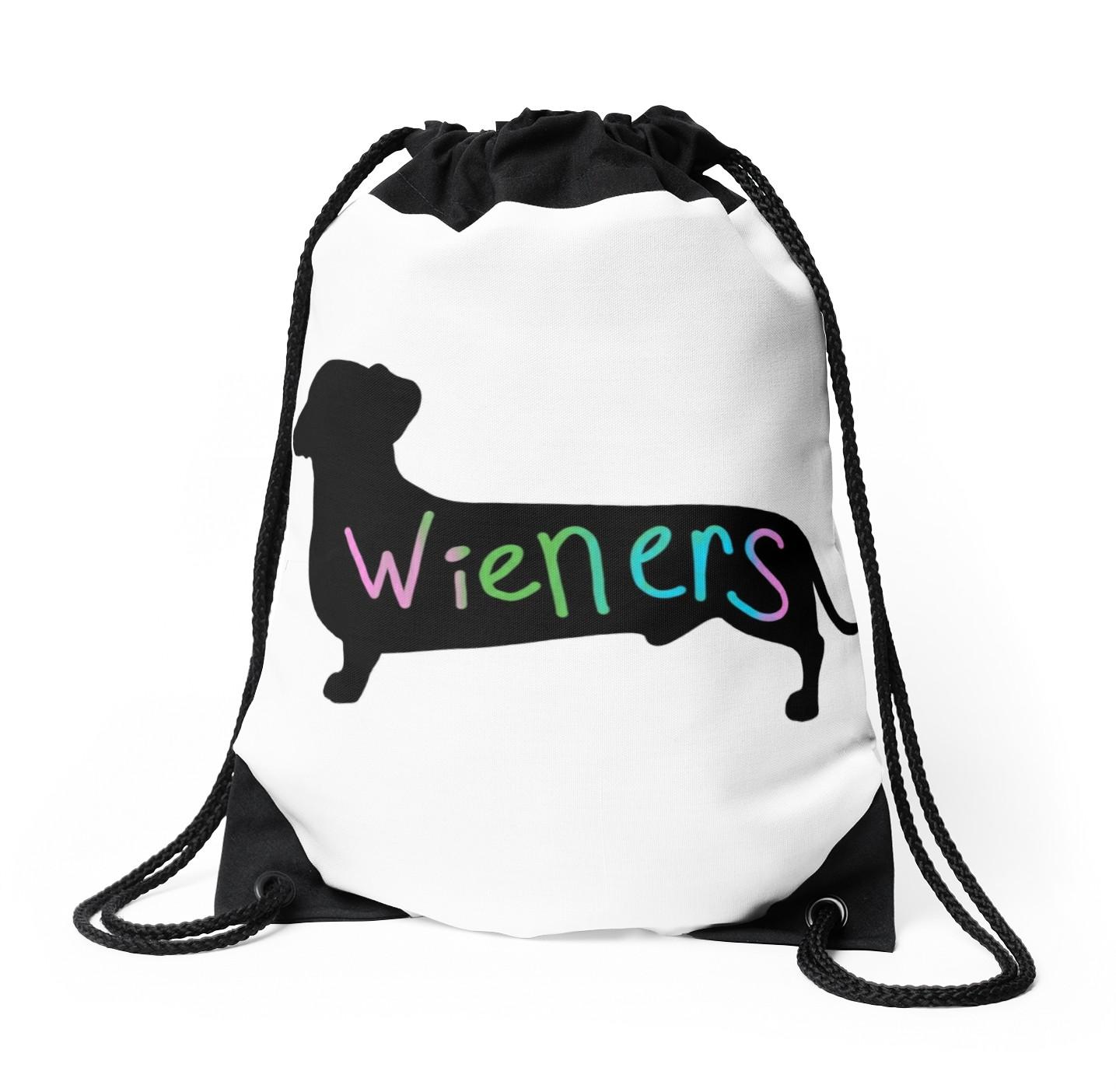 1435x1404 Wieners Funny Wiener Dog Dachshund Silhouette Rainbow Drawstring