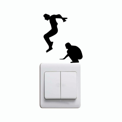 400x400 Dropship Kg 231 Leap Jumping Light Switch Sticker Funny Cartoon