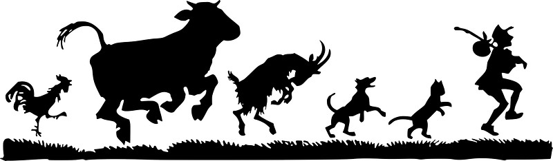 800x234 Funny Dancing Animals Cow Chicken Goat Silhouette Stickers By