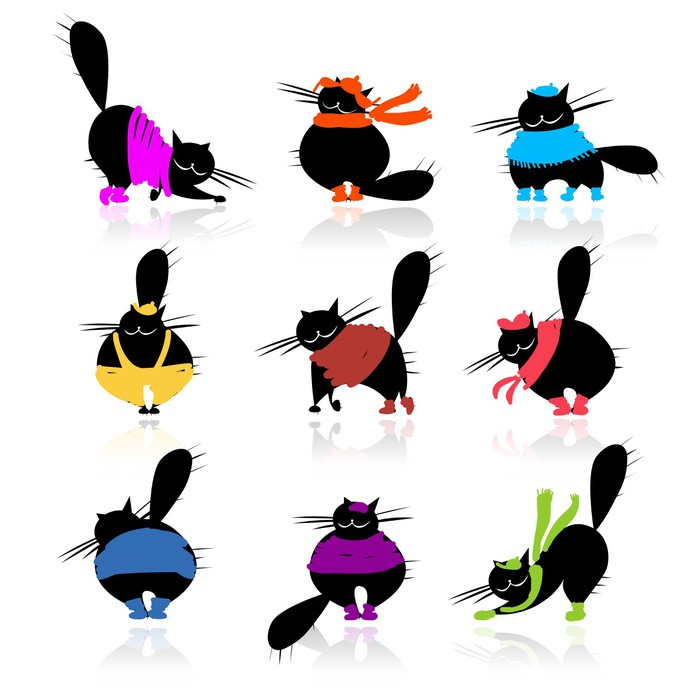 700x700 Funny Black Fat Cats Silhouettes In Fashion Clothes Wall Mural