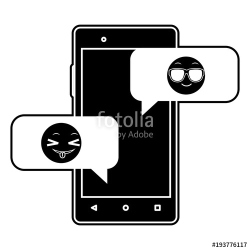 500x500 Silhouette Smartphone With Emoji Cool And Funny Chat Stock Image