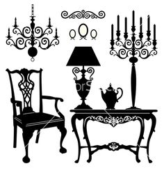 236x248 Antique Furniture Black And White Silhouette Funniture