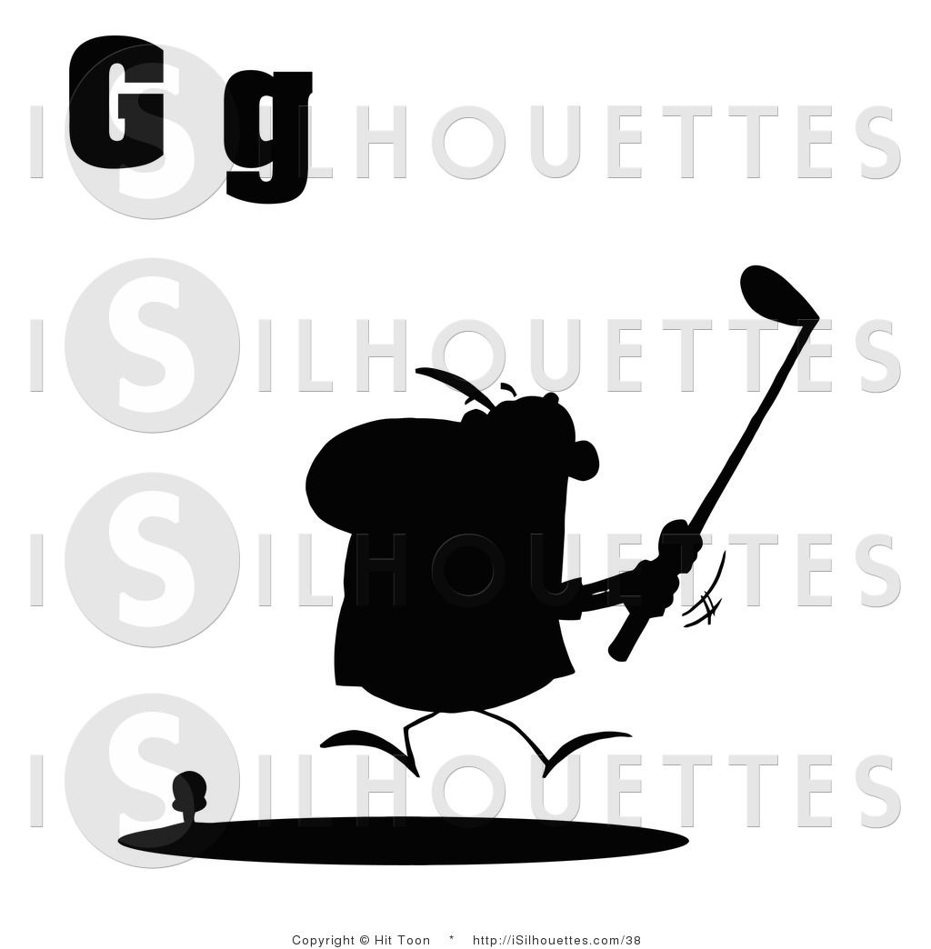 1024x1044 Silhouette Clipart Of A Silhouetted Male Golfer With Letters G