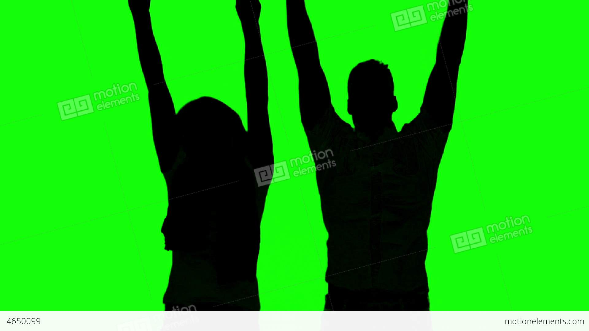 1920x1080 Silhouette Of Couple Jumping And Raising Arms On G Stock Video