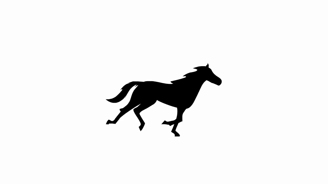 1280x720 Animated Galloping Horse Silhouette Motion Background
