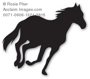 300x262 Silhouette Of A Wild Stallion Running Royalty Free Clip Art Image