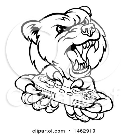 450x470 Clipart Of Blacknd White Mad Grizzly Bear Mascot Holding