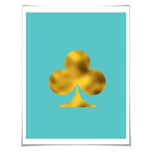 300x300 Ace Of Clubs Silhouette Art Print. 7 Foil Colours3 Sizes. Playing