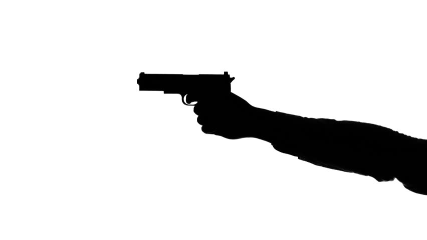 852x480 Silhouette Of A Mans Arm With A Gun, Aiming Down The Sights