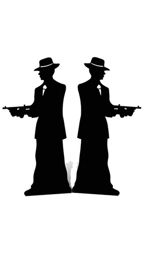 285x500 Gangster Double Side Silhouette Cutout Partyrama.co.uk