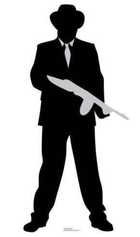 290x488 Gangster Tommy Gun Silhouette Cardboard Cutouts