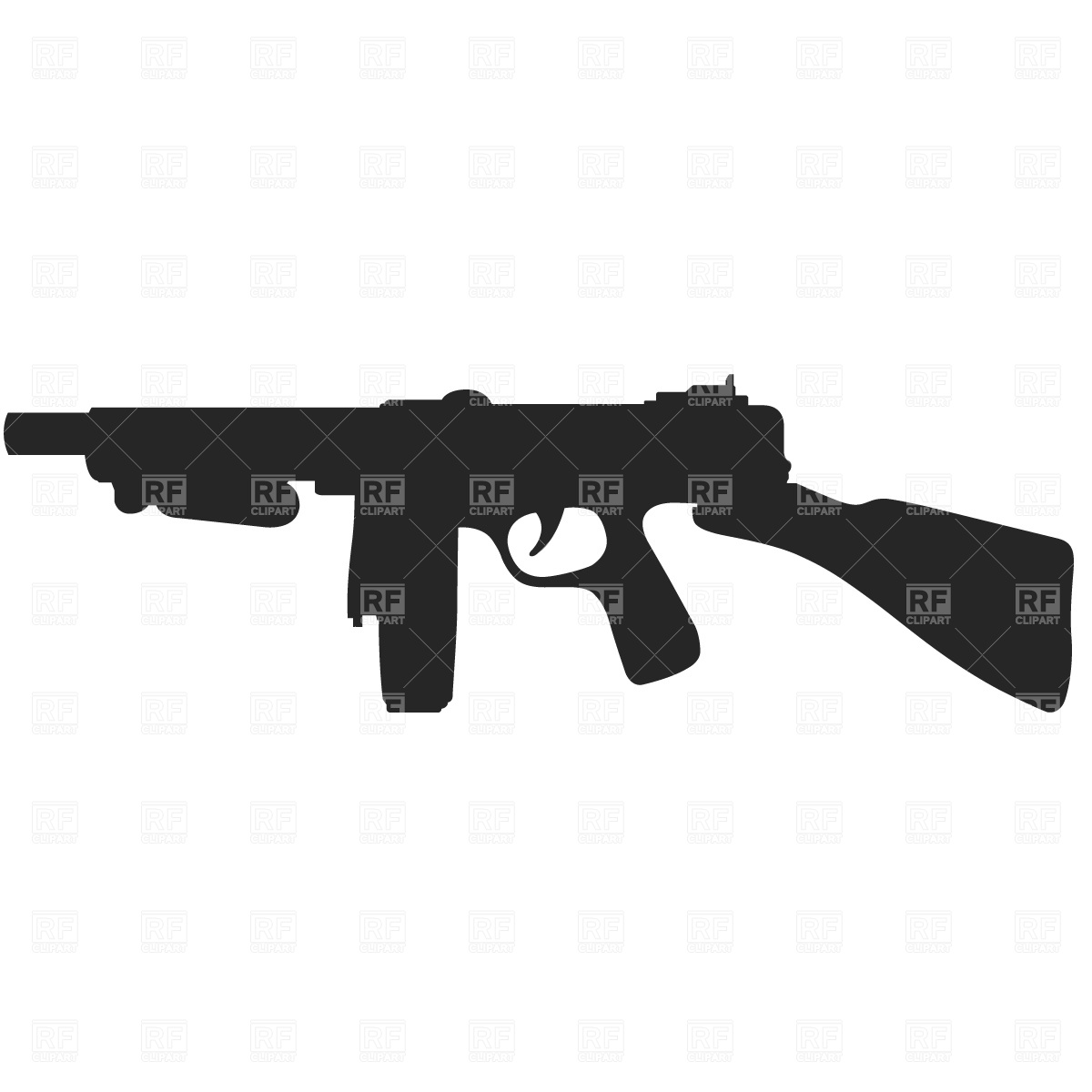 1200x1200 Gangster's Machine Gun Silhouette Royalty Free Vector Clip Art