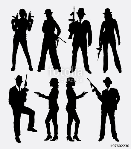 438x500 Gangster With Gun, Male And Female Pose Silhouettes. Good Use
