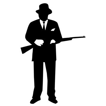 355x355 Gangster Tommy Gun Silhouette Car Window Decal Sticker