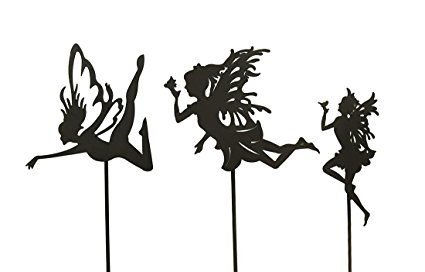 425x272 Metal Garden Stakes 3 Pc. Rust Finish Fairy Silhouette