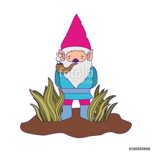 500x500 Gnome Coming Out Of The Bushes With Smoking Pipe In Brown Dotted