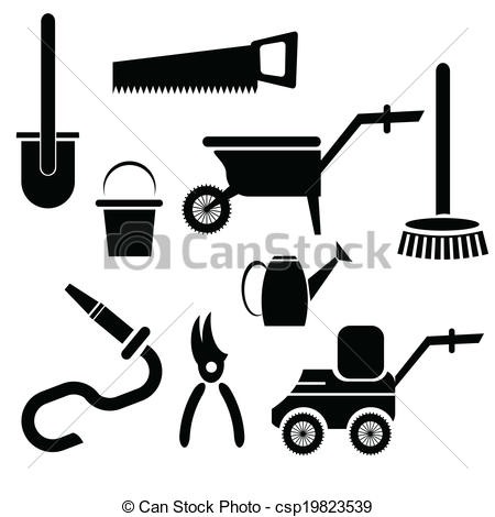 450x470 Illustration With Garden Tools Silhouettes On A White Vectors