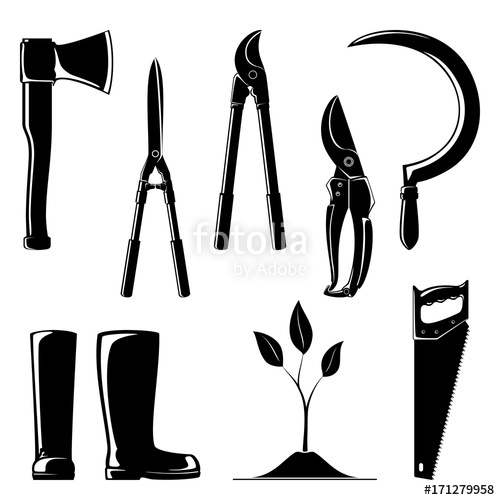 500x500 Silhouette Of Agricultural Tools ,set Of Garden And Landscaping