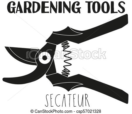 450x388 Black And White Secateur Silhouette. Garden Tool Vector Vector