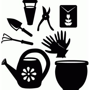300x300 Garden Tool Set Silhouette Design, Tool Set And Silhouettes