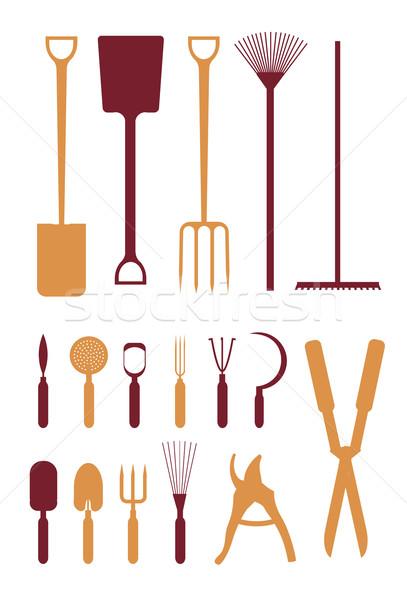 407x600 Gardening Tools Silhouette Icons. Vector Illustration Oksana