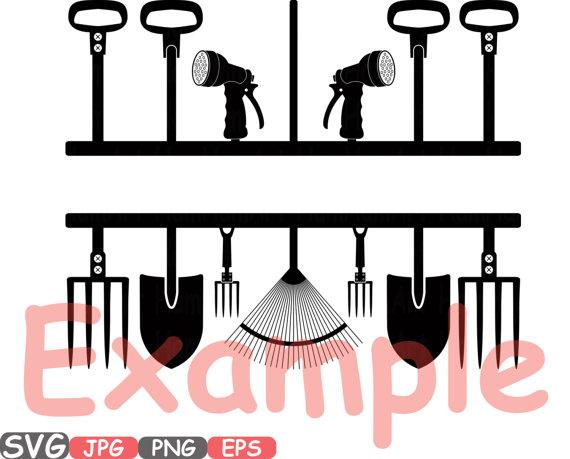 570x459 Split Amp Circle Garden Tools Silhouette Svg Set Of Gardening