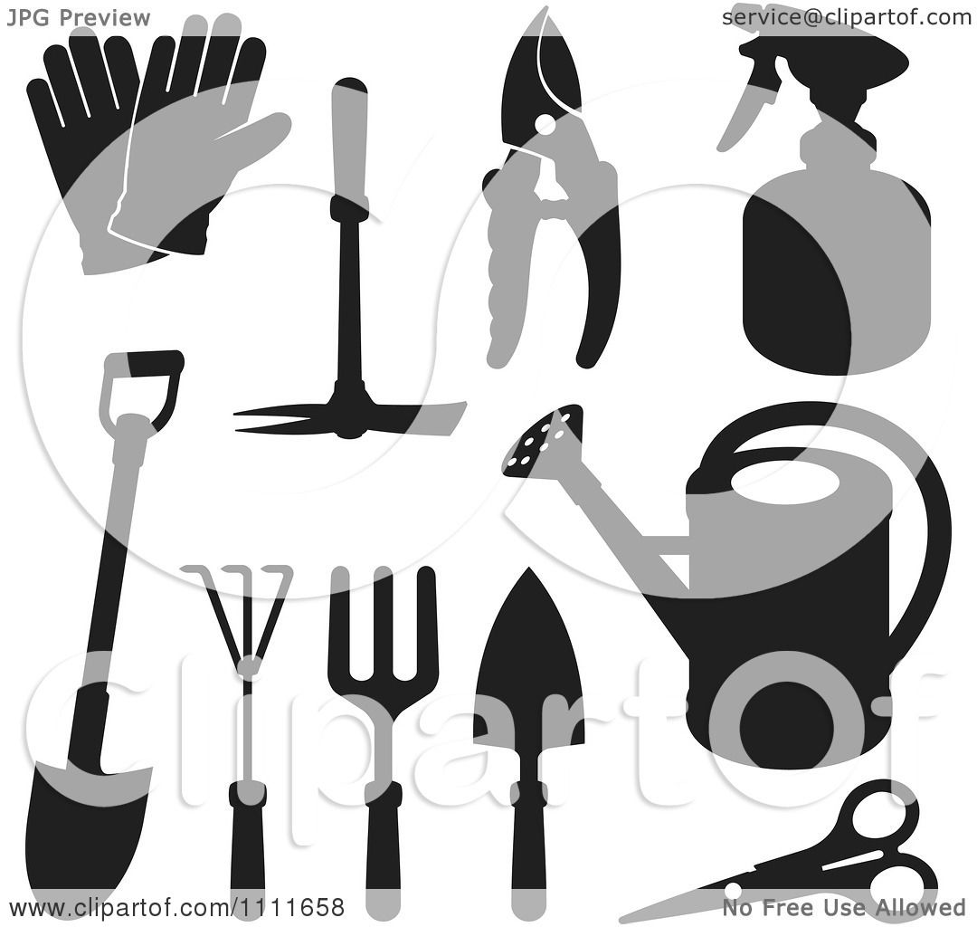 1080x1024 Clipart Black Silhouetted Gardening Tools
