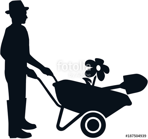 500x469 Gardener Silhouette Black And White Stock Image And Royalty Free