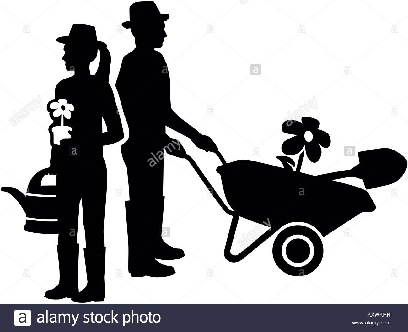 1300x1057 Silhouette Of A Gardener Couple With Watering Can And Wheelbarrow