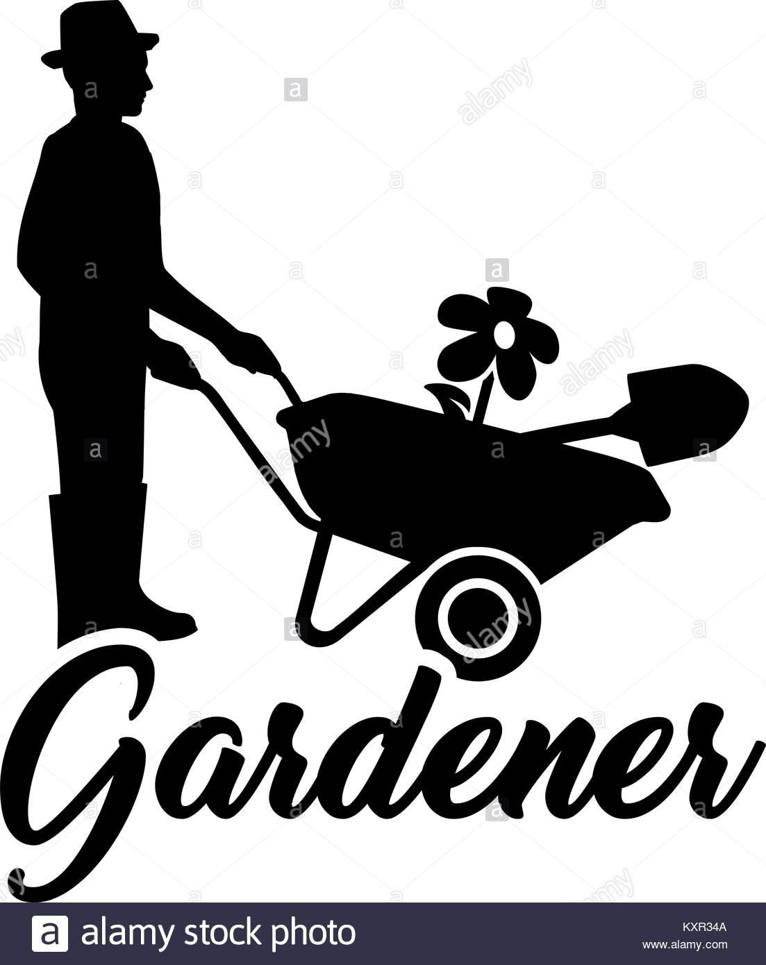 1103x1390 Silhouette Of A Gardener With Job Title And Wheelbarrow Stock