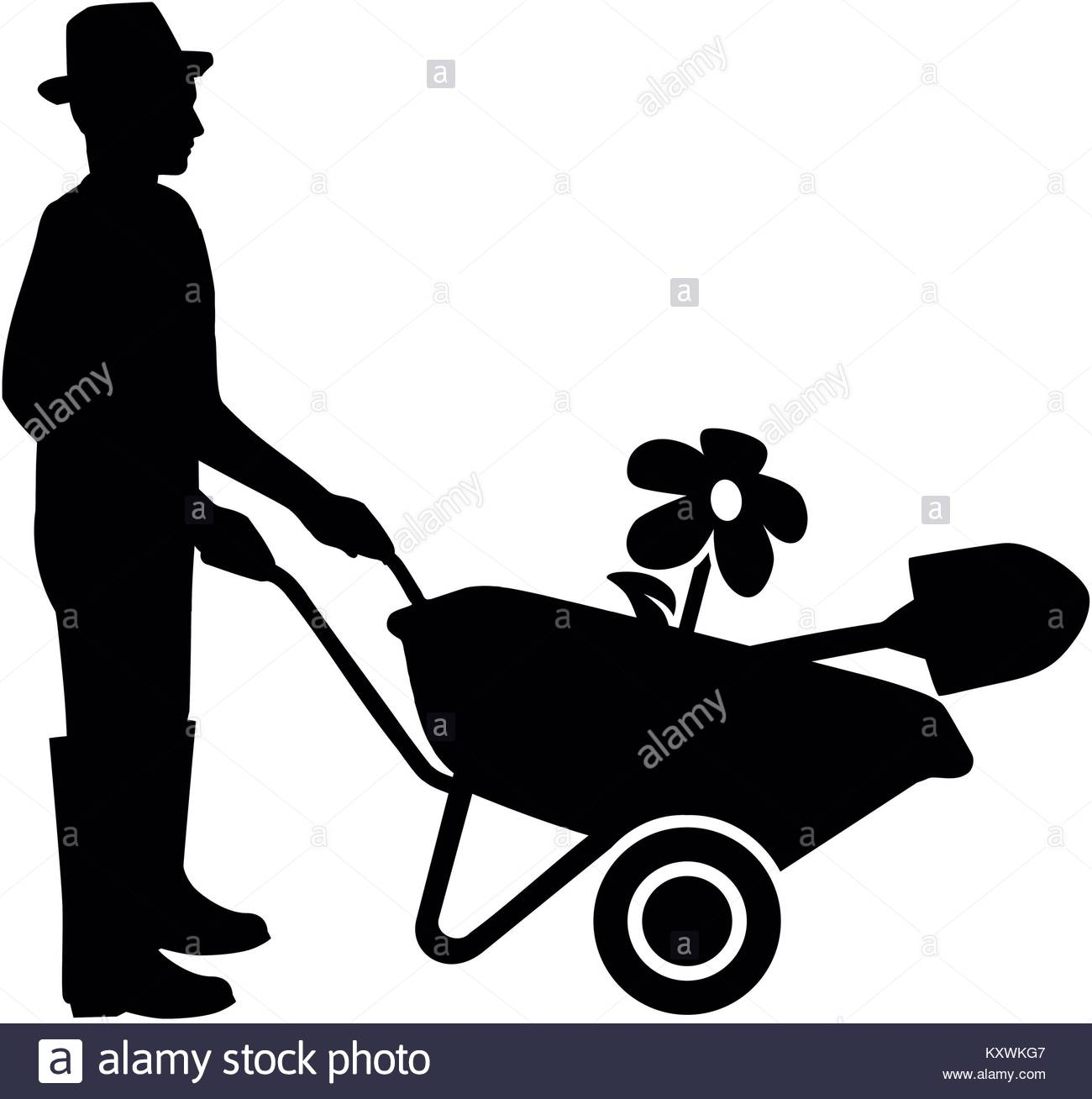 1300x1308 Silhouette Of A Gardener With Wheelbarrow In Black And White Stock