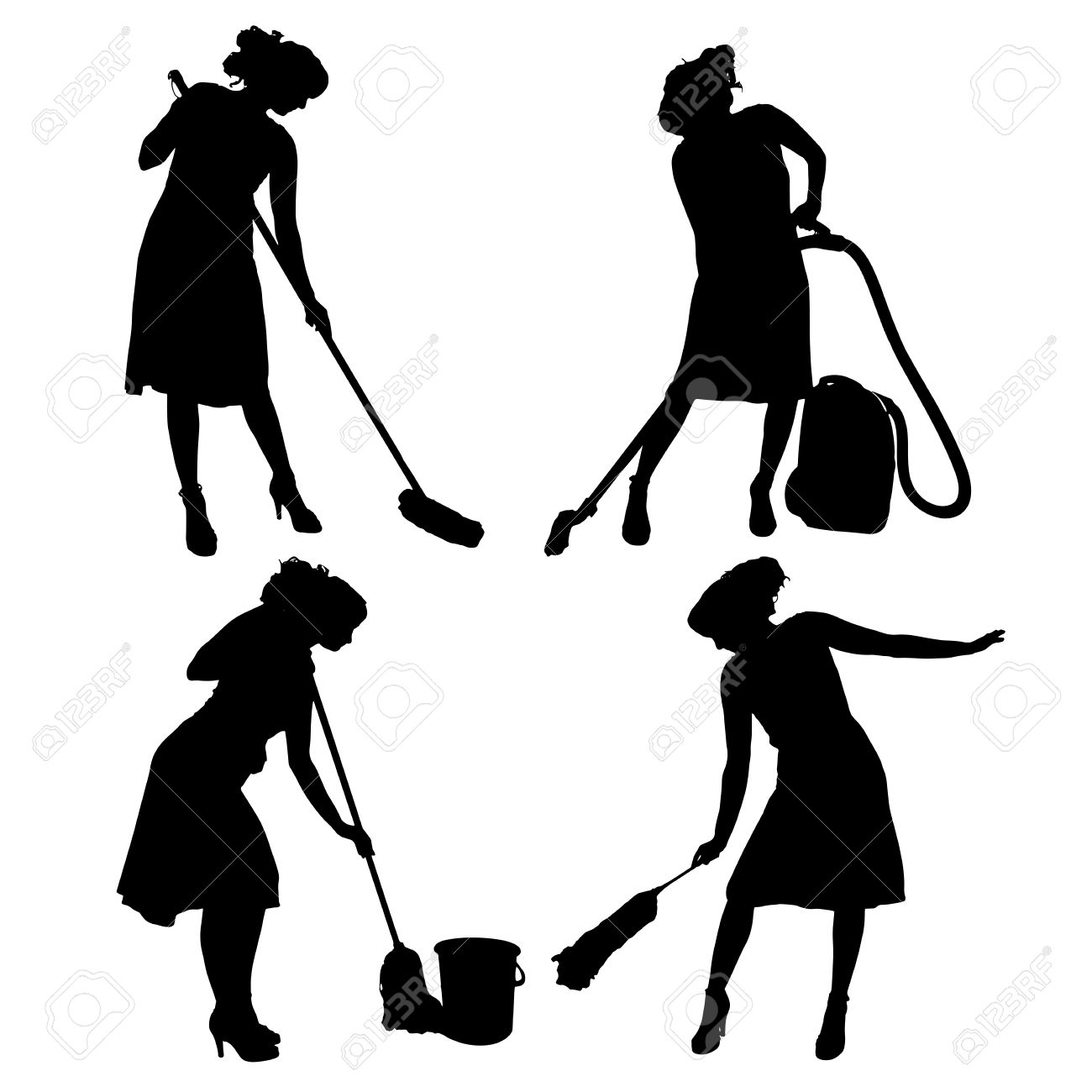 1300x1300 Cleaning Lady Silhouette Clipart