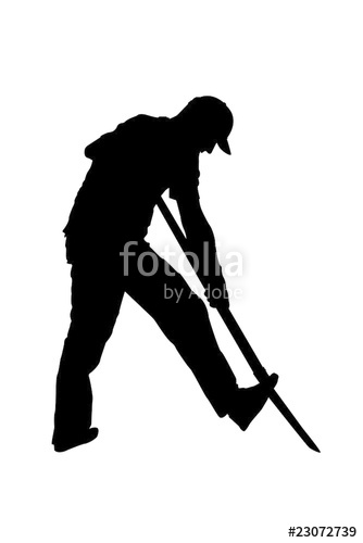 334x500 Silhouette Of Gardener Or Farmer Digging With Shovel Stock Photo