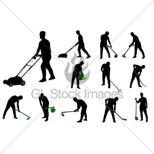 500x500 Gardening Work Silhouettes Gl Stock Images