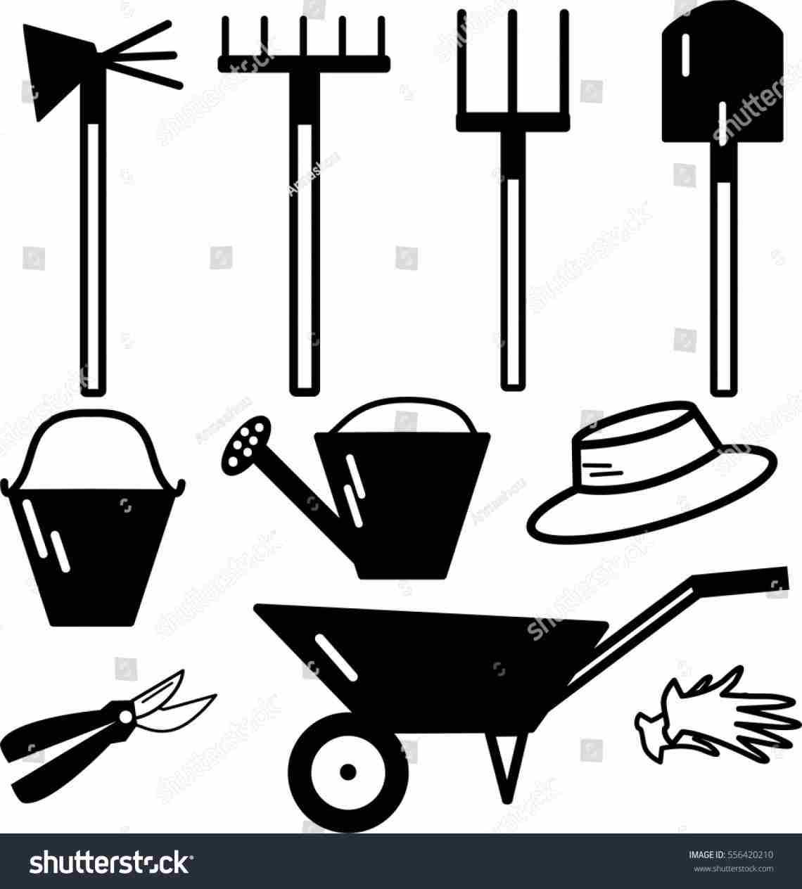 1140x1264 Vector Silhouette Garden Tools Clip Art Set Stock