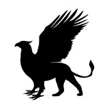 160x160 Gargoyle Silhouette Ancient Traditional Symbol Stock Image