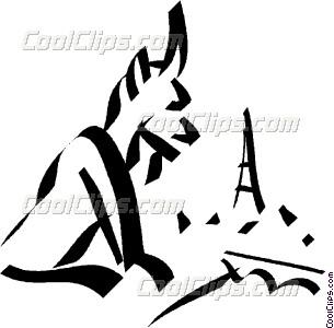 305x300 Gargoyle Overlooking The Eiffel Tower Vector Clip Art