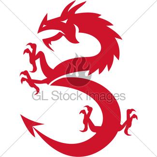 325x325 Dragon Gargoyle Crouching Silhouette Retro Gl Stock Images