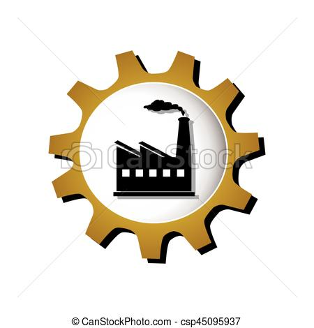 450x470 Gear Silhouette With Industry Icon Vector Illustration Vectors