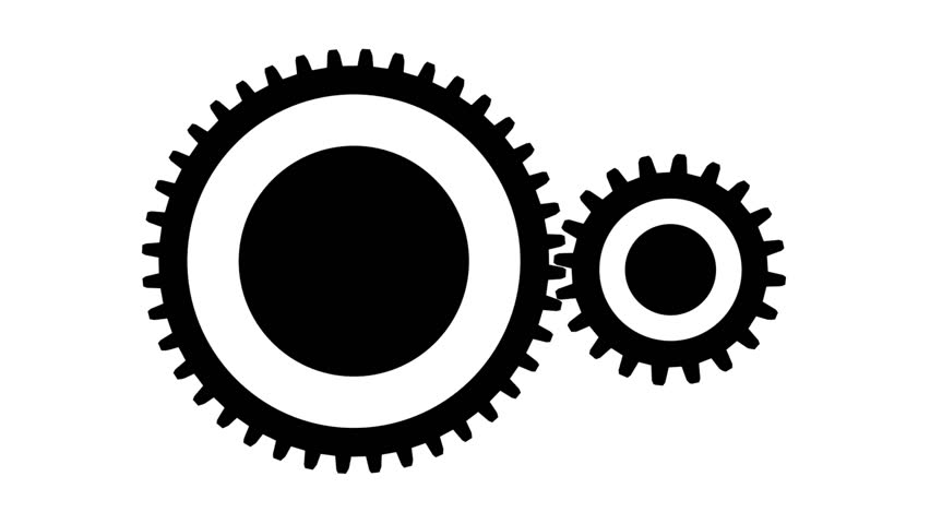 852x480 Silhouette Gears On A White Background, Seamless Loop Stock