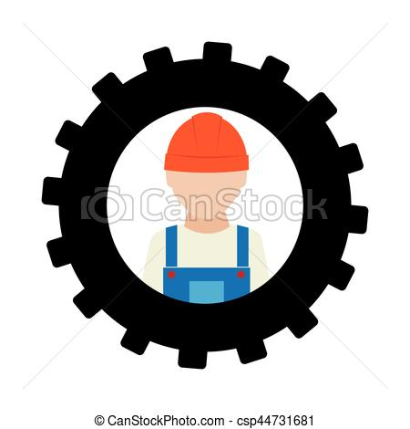 450x470 Silhouette In Shape Of Gear With Worker With Helmet Vector