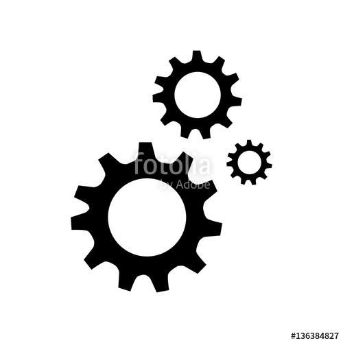 500x500 Black Silhouette Gear Wheel Icon Vector Illustration Stock Image