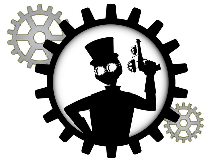 700x525 Silhouette Of Steampunk Man Holds Gun Inside Gear Wall Mural