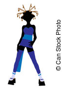 126x179 Geisha Girl Illustration Silhouette. A Geisha Girl Stock