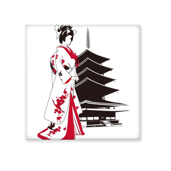 600x600 Japan Culture Japanese Style Red Black Kimono Girl Temple