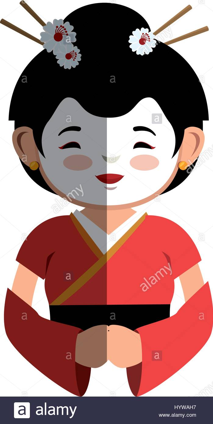 699x1390 Geisha Japanese Girl Icon Vector Illustration Design Stock Vector