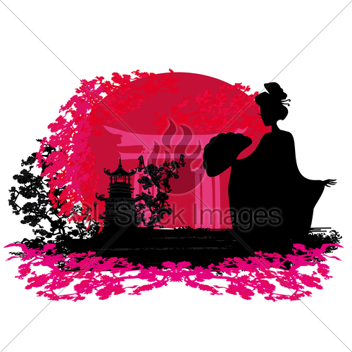 500x500 Abstract Background Geisha Silhouette At Sunset Gl Stock Images