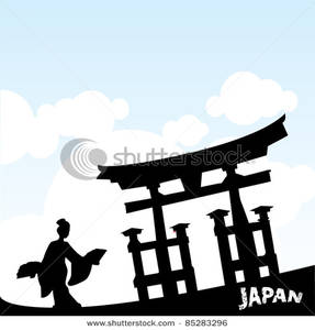 287x300 Art Image A Silhouette Of A Woman Underneath A Japanese Structure