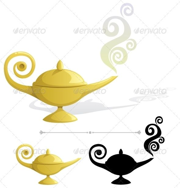 590x618 Magic Lamp Fonts Logos Icons Genie Lamp Tattoo